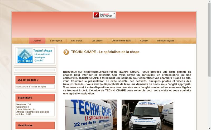 Capture d'écran du site de Techni Chape