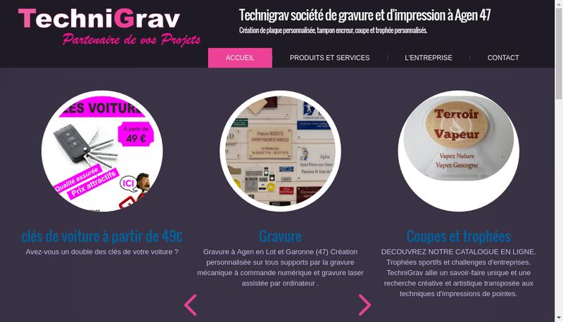 Capture d'écran du site de Technigrav