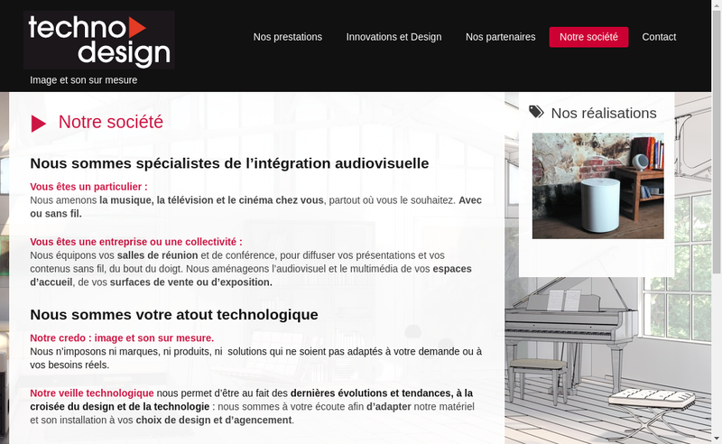 Capture d'écran du site de Techno Design