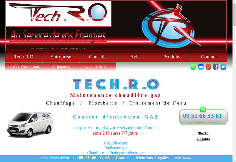 Capture d'écran du site de Tech RO