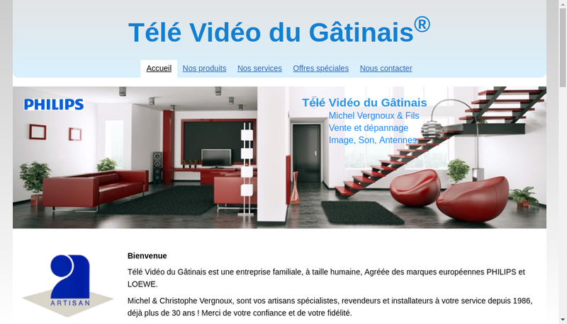 Capture d'écran du site de Tele Video du Gatinais