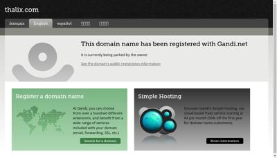 Capture d'écran du site de Thalix