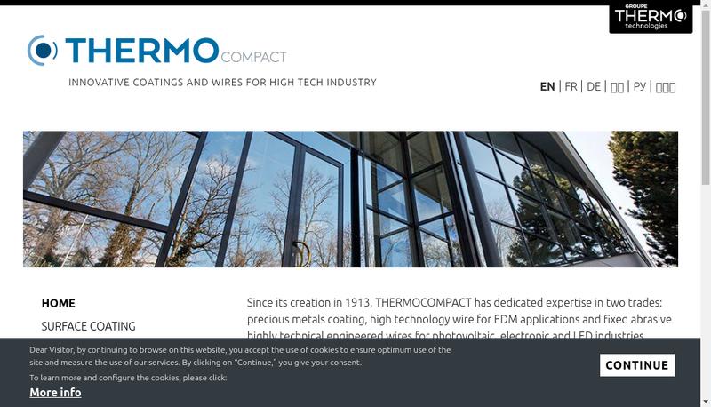 Capture d'écran du site de Thermo Wire