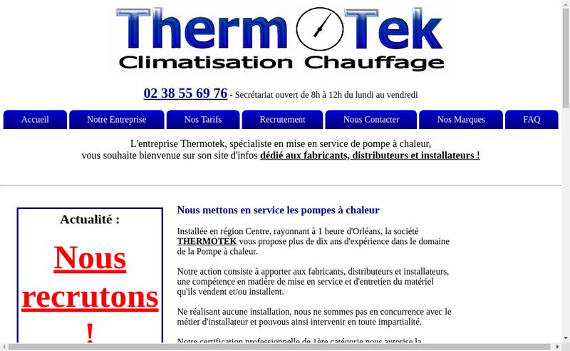 Capture d'écran du site de Savpac - Thermotek Formation - Serval