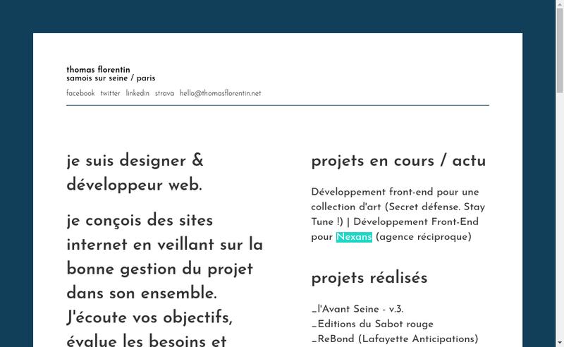 Capture d'écran du site de Thomas Florentin
