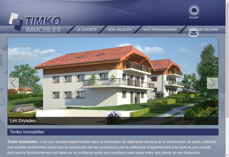 Capture d'écran du site de Timko Immobilier