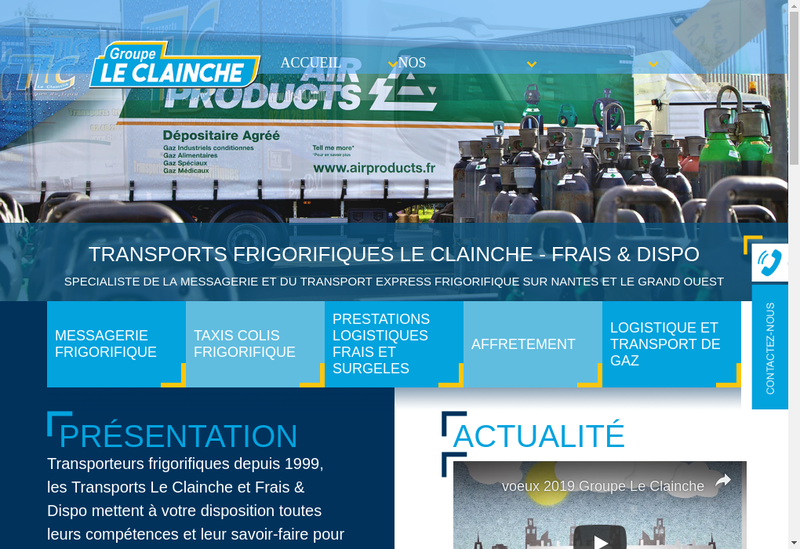 Capture d'écran du site de Transports le Clainche