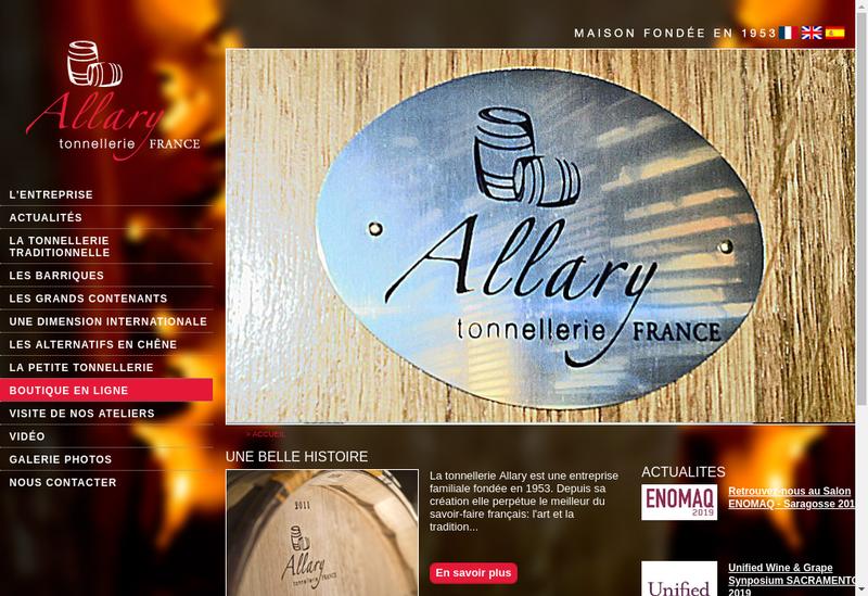 Capture d'écran du site de Tonnellerie Allary