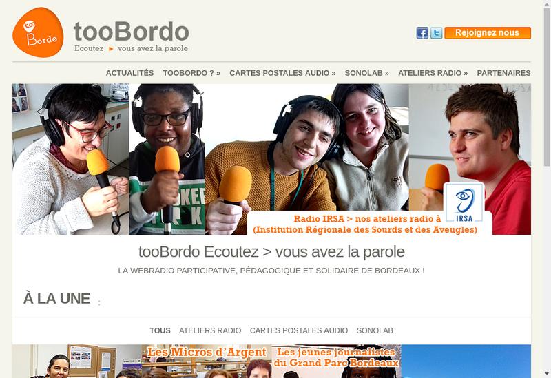 Capture d'écran du site de Toobordo