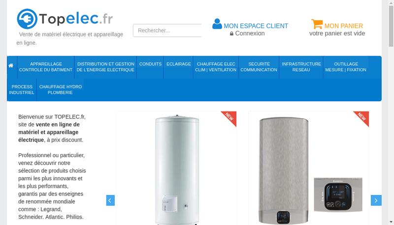 Capture d'écran du site de Topelec