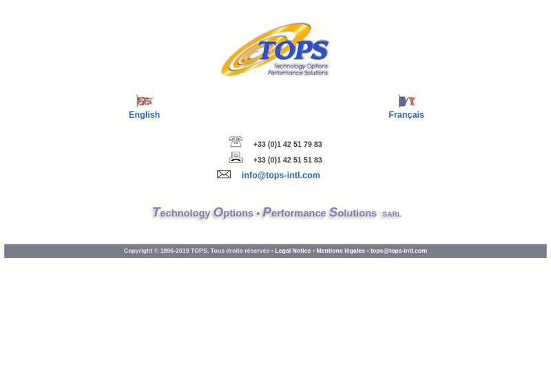 Capture d'écran du site de Technology Options Performance Solutio