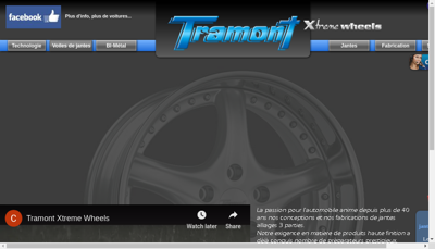 Capture d'écran du site de Tramont