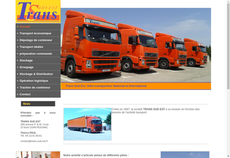 Capture d'écran du site de Trans Sud Est