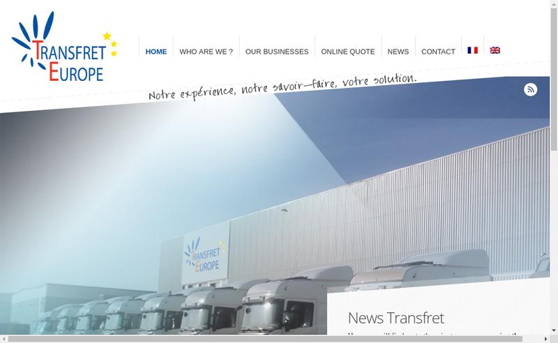 Capture d'écran du site de Transfret Europe