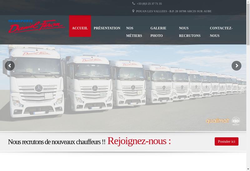 Capture d'écran du site de Transports Daniel Feron