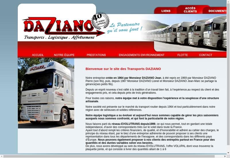 Capture d'écran du site de Transport Daziano Pere et Fils