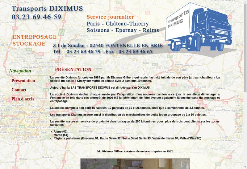 Capture d'écran du site de Transports Diximus