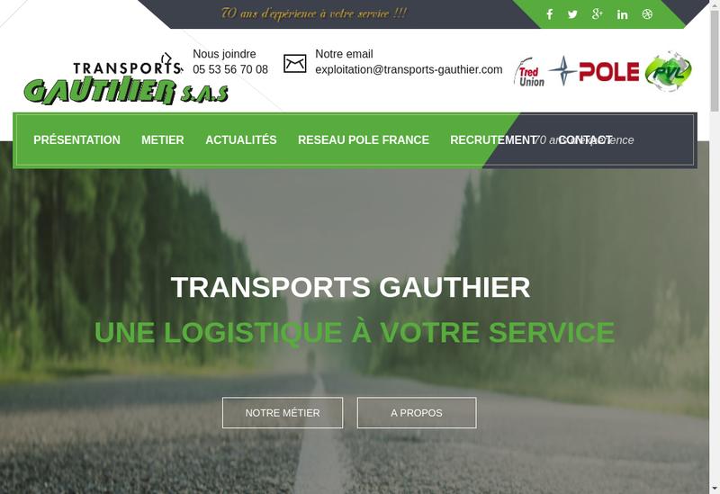 Capture d'écran du site de Gauthier Transports