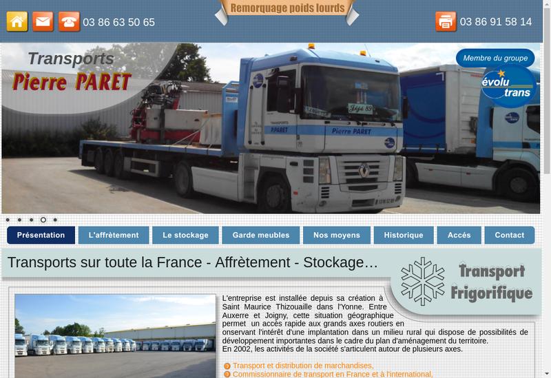 Capture d'écran du site de Depann ' Paret