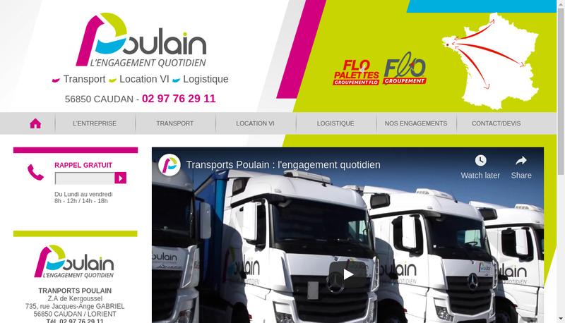 Capture d'écran du site de Transports Poulain
