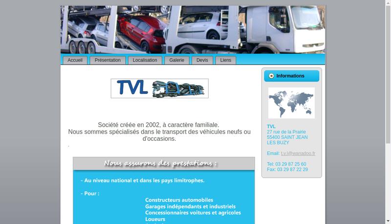 Capture d'écran du site de Transports de Vehicules Lorrains TVL