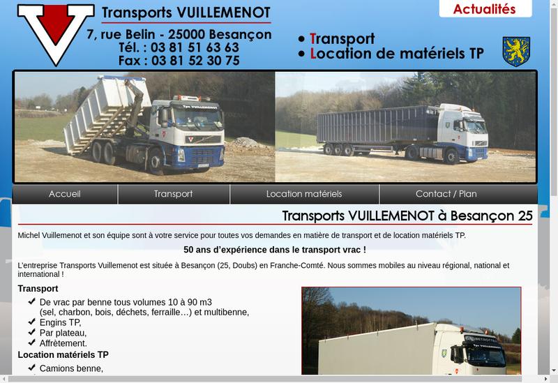 Capture d'écran du site de Transports Vuillemenot