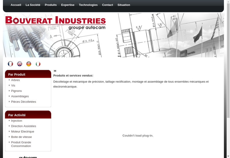 Capture d'écran du site de Bouverat Industries