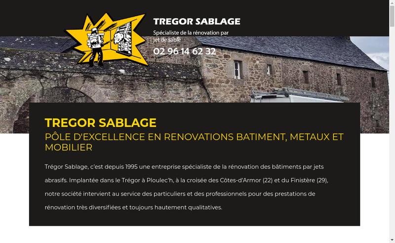 Capture d'écran du site de Tregor Sablage