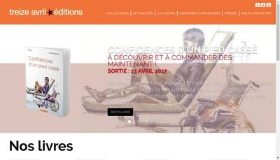 Site internet de Treize Avril Editions