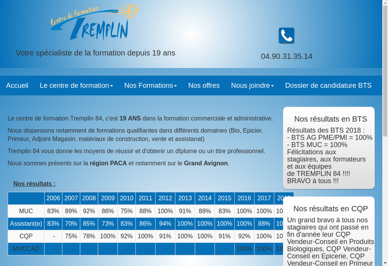 Capture d'écran du site de Tremplin 84