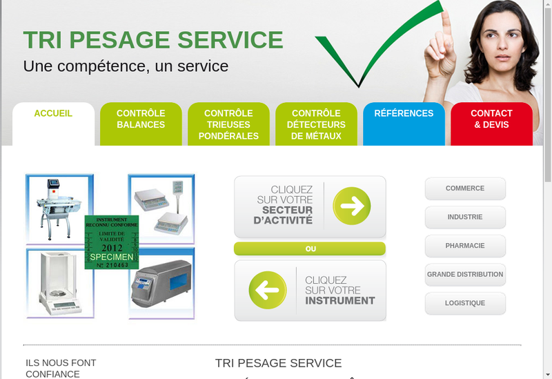 Capture d'écran du site de Tri Pesage Service