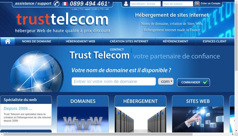Capture d'écran du site de SARL Trust Telecom