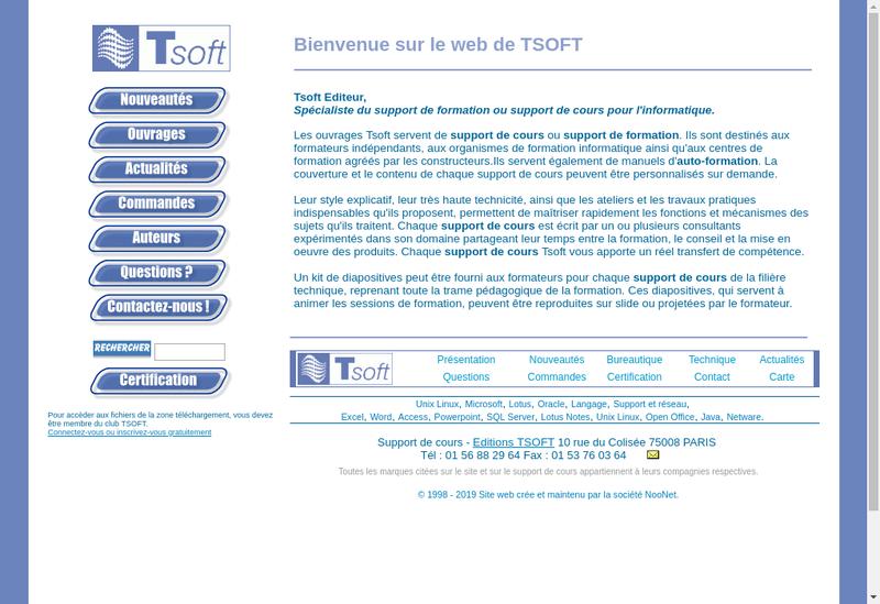 Capture d'écran du site de Tsoft