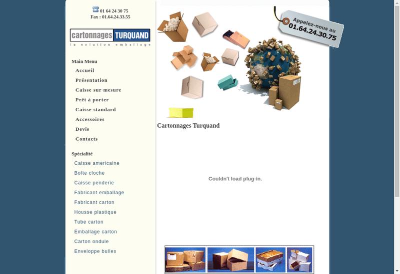 Capture d'écran du site de Les Cartonnages Turquand