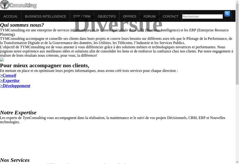 Capture d'écran du site de Tym Consulting