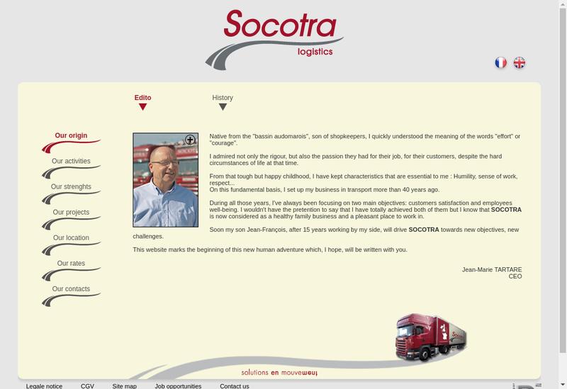 Capture d'écran du site de Socotra Location