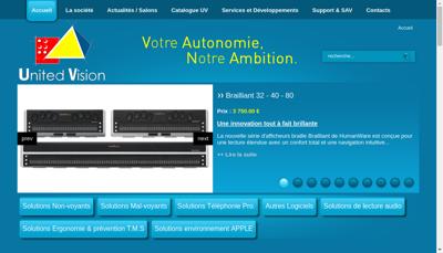 Capture d'écran du site de United Vision