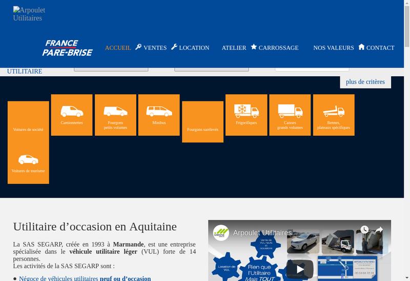 Capture d'écran du site de Arpoulet Utilitaires