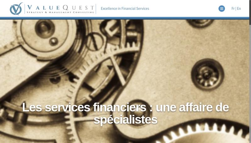 Capture d'écran du site de Valuequest
