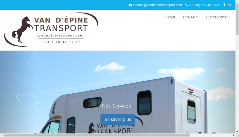 Capture d'écran du site de Van d'Epine Transport
