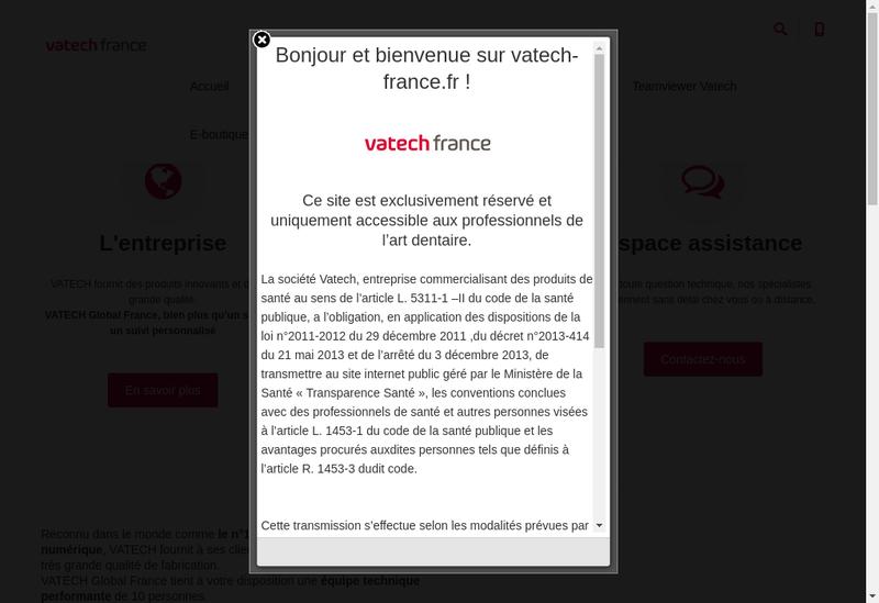 Capture d'écran du site de Vatech Global France