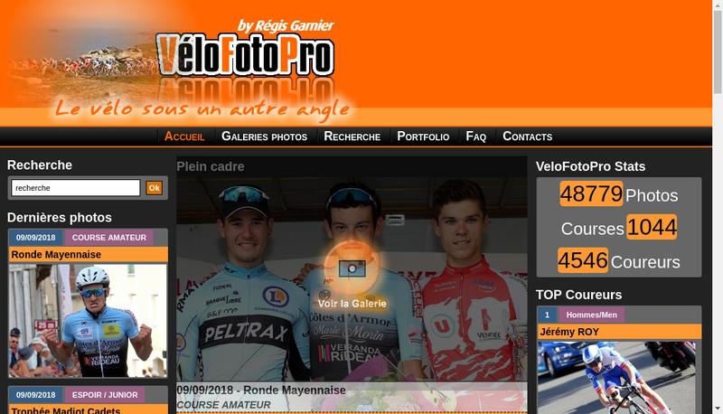 Capture d'écran du site de Velofotopro