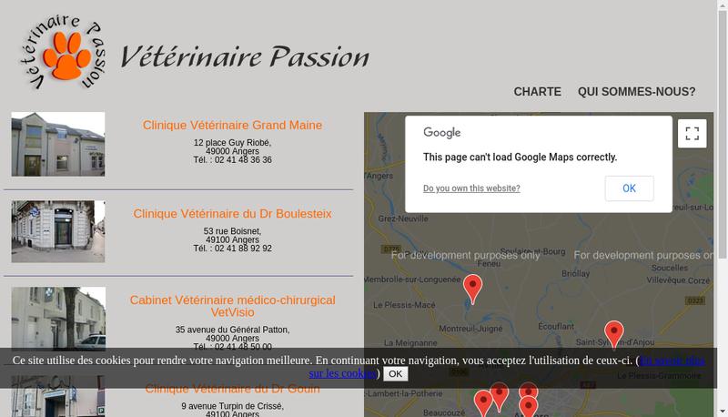 Capture d'écran du site de Veterinaire Passion