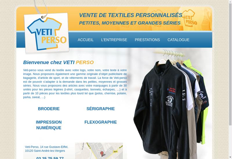 Capture d'écran du site de Veti-Perso