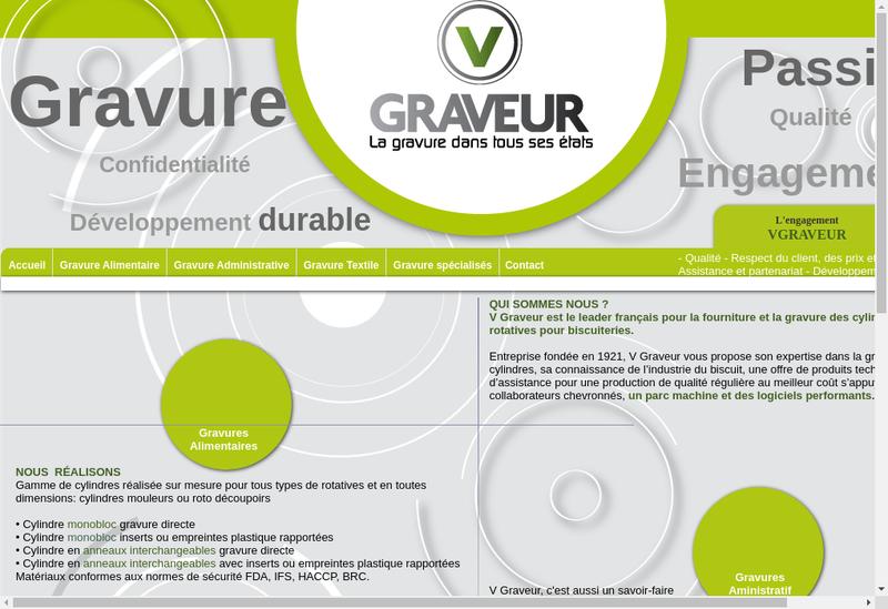 Capture d'écran du site de SARL V Graveur