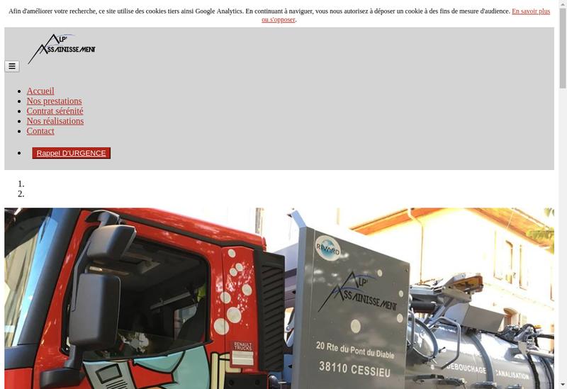 Capture d'écran du site de Alp Assainissement