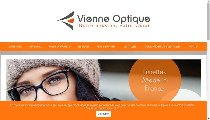 Capture d'écran du site de Vienne Optique