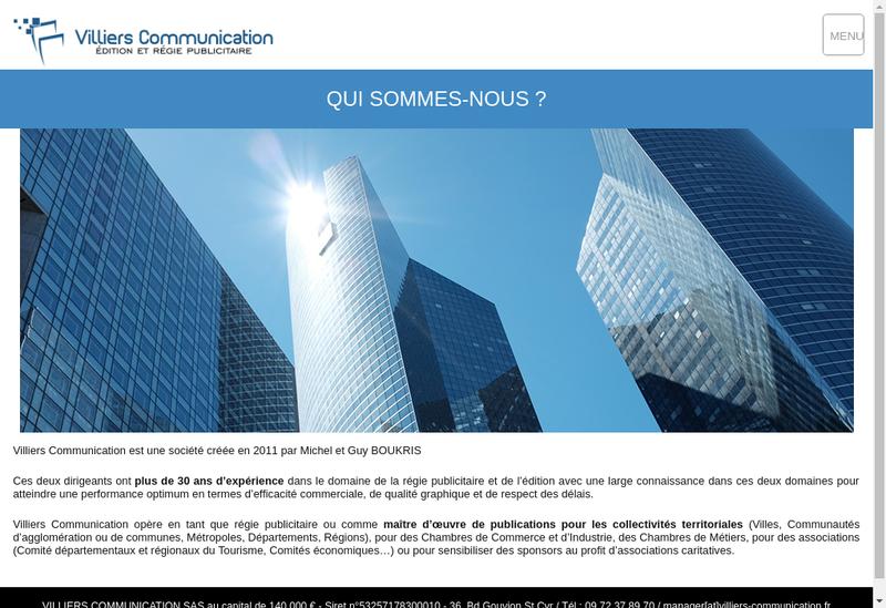 Capture d'écran du site de Villiers Communication
