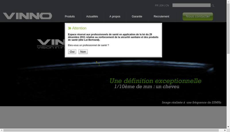 Capture d'écran du site de Vinno France