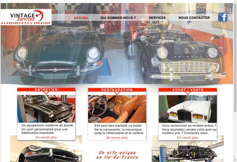 Capture d'écran du site de Vintage Services